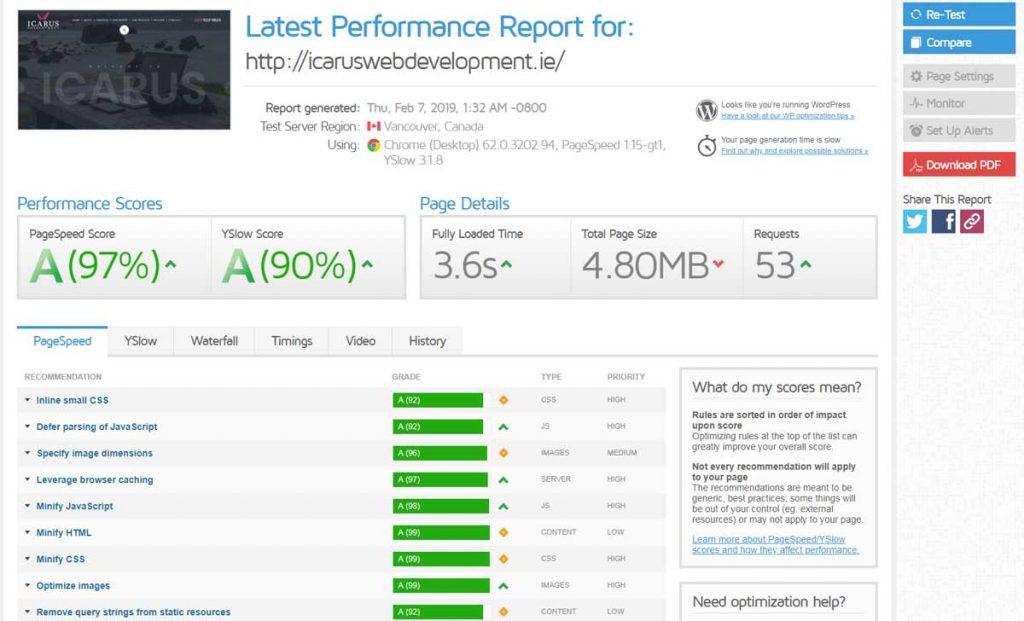Icarus Web Development website loading speed test result